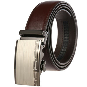 Luxury Men's Real Leather Belt Automatic Buckle Strap Suit Waistband Gift Jeans