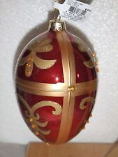 """NEW BLOWN GLASS HAND CRAFTED CHRISTMAS TREE ORNAMENT  4"""" RED & GOLD EGG SHAPE"""