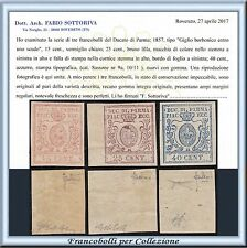 ASI 1857 Parma 3ª emissione n. 9/11 Serie completa Nuovi ** Antichi Stati Italia