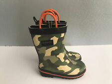 BNWT Little Boys Size 7 Rivers Doghouse Brand Green camoflage orange Gumboots