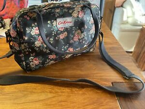 Cath Kidston Charcoal  Grey Pink Mix Floral Pvc/cotton Leather Trim Satchel Bag