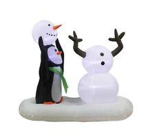 "59"" Penguin Snowman Scene Airblown Inflatable Outdoor Christmas Yard Decor"