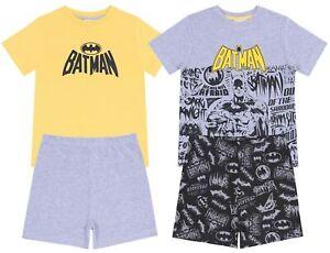 2 x Grey/Yellow Top & Shorts Pyjama Set For Boys BATMAN DC COMICS
