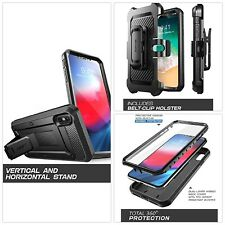 BLACK iPhone XS Max Case Kickstand Life Proof Hard Cover Belt Clip Rotate Rugged