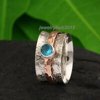 Blue Topaz Solid 925 Sterling Silver Spinner Ring Meditation Ring Size vv08