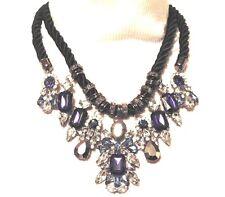 Statement Choker Chunky Collar (Blue, Clear, Purple & Black) Pendant Necklace