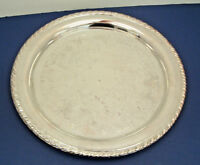 vintage Oneida silverplate round ornate rope edge serving platter shabby chic
