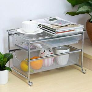 2Tier Sliding Basket Organizer Drawer Chrome Under Sink Cabinet Storage Kitchen