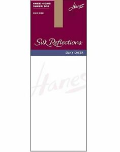Sandalfoot Knee High Stockings 6-Pack Hanes Silk Reflections Sheer Knit Wide top