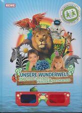 """REWE """" UNSERE WUNDERWELT !?! """" Album + 180 Sticker kompl.mit Glitzer-+3D-sticker"""