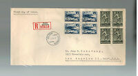 1947 Finland Airmail registered first day cover to USA FDC # 268-269 Blocks of 4