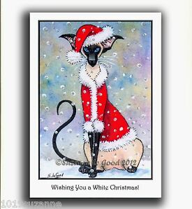 Siamese Cat Christmas card large glittery from original painting Suzanne Le Good