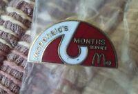 Ronald McDonald's 6 Months Service employee uniform pin badge
