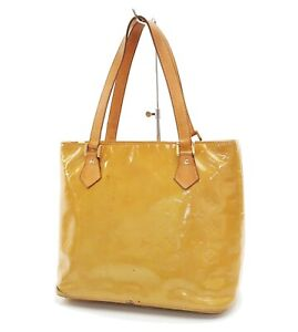 Auth LOUIS VUITTON Houston Beige Vernis Tote Bag Purse #29913A