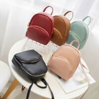 Fashion Women Small Backpack Zip Leather Shoulder Bags Solid Casual Students Bag