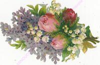 Chromo DECOUPIS Bouquet de fleurs muguet roses