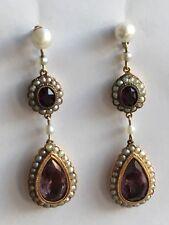 Boucles d'oreilles anciennes Or 14K Perles Fines Améthystes