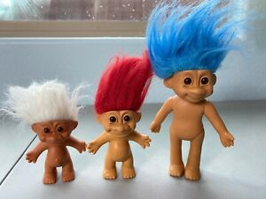 RUSS TROLL Dolls Figures Lot of 3 Red White Blue Hair Posable Vintage Toys