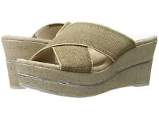 Donald J Pliner Dani-le Natural Linen Elastic wedge sandals Women sz 11