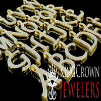 10K Yellow Gold Silver Initial Letter Alphabet Charm Simu Diamond Pendant +Chain