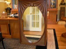 Casa Bique Aged Regency Large Rectangular Wood Mirror with Oval Inset