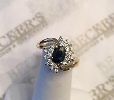14k yg Oval Blue Sapphire Ring & 22 Round Diamond Ring 1.07 tw IJ-SI2,I1 sz 5.5