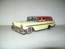 """Vintage Tin Friction Bandai 1958 Chevy Station Wagon Car - 8.5"""" Long - Japan"""