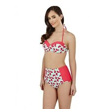 Ladies High Waist Retro 40's Watermelon Balconette Padded Bra Bikini Swimsuit