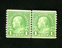 US Stamps # 597 Superb Line Pair Gem OG NH