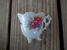 Vintage White Floral Scalloped 3 Footed Teacup Highmount Quality Japan Gold Trim