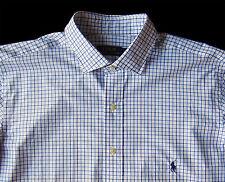 Men's POLO RALPH LAUREN Blue White Tattersall Plaid Shirt 2XLT 2LT 2XT TALL NWT