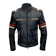 New Men's Cafe Racer Retro Moto Biker Motorbike Genuine Leather Jacket