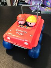 """VINTAGE 1973 Fisher Price """"Bouncing Buggy"""" RED pull behind toy #122 Made In USA"""