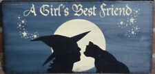 Primitive witch sign Girl's Best Friend halloween cats wiccan witchcraft folk