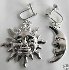SUN AND MOON LARGE SCREW FITTING SILVER TONE EARRINGS FOR NON  PIERCED EARS