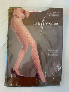 """Leg Avenue Bright Hot Neon Pink Fence Net Pantyhose One Size 4' 10"""" to 5' 9"""" New"""