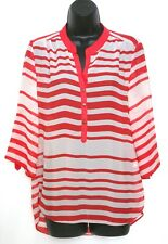 Red Striped Breton French Style Blouse Tunic Top Shirt Size 12 Eur 40 Holidays