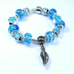 Blue Bead Charm Bracelet with Feather Ashes Charm