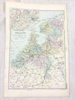 1892 Ancien Carte De Holland The Pays-Bas Amsterdam Zuider Zee G W Bacon