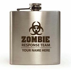 Personalised Hip Flask zombie response team