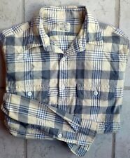 J. Crew Plaid Flannel Work Shirt Small Button Pockets Yellow, Gray EUC