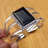 925 Sterling Silver Plated Black Onyx Bangle Cuff Bracelet Jewelry BANG13