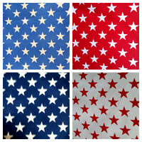 "PATRIOTIC STARS AMERICAN STAR PRINT POLY COTTON FABRIC 60"" BY THE YARD 4 COLORS"