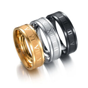 Fashion Roman Numeral 6MM Titanium Stainless Steel Round Rings For Men Size 6-12