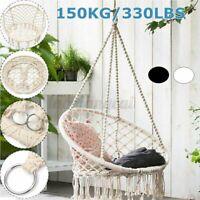 "330lbs 31"" Hammock Chair Swing Seat Hanging Rope Cotton Yard Patio Outdoor US"
