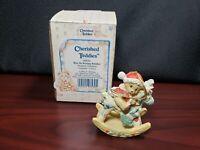 1992 Enesco Cherished Teddies Bear On Rocking Reindeer Hanging Ornament 950793