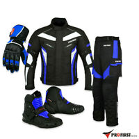 Motorcycle 2-Piece Cordura Suit Leather Touring Boots & Motorbike Riding Gloves