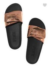Victoria's Secret Pink ROSE GOLD Comfort Slides Slippers Shoes SIZE L LARGE 9/10