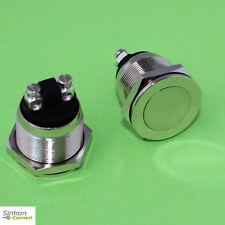 Vollmetall Taster Flach Schraubösen 19 mm Schließer 230 V / 2 A Metall (300