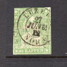 Swiss #40 40rp Helvetia GREEN SHADE - USED and NICE cv$100.00